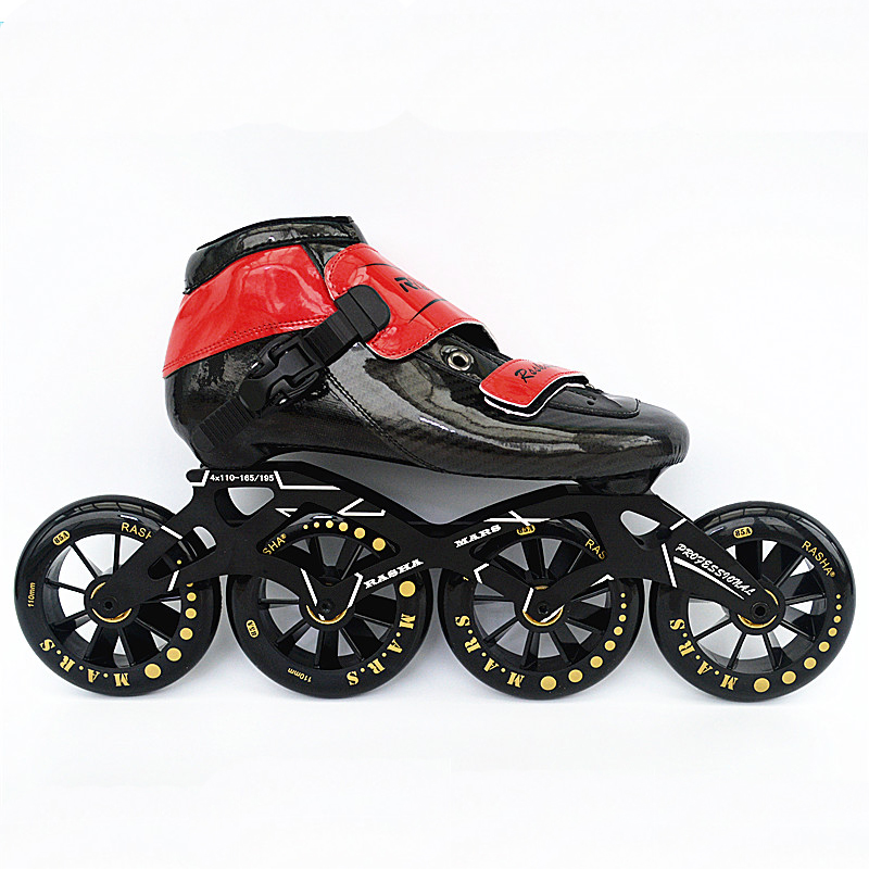free shipping RASHA inline skates shoes Professional adult child inline roller skates 4 wheels speed skate men/women patines vik max adult kids dark blue leather figure skate shoes with aluminium alloy frame and stainless steel ice blade