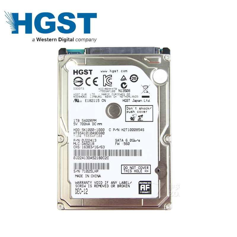 HGST 1TB 1000GB HDD Laptop Notebook Hard Disk Drive 1000G HD SATA3 SATA III 5400rpm 8M 2.5 9.5mm HTS541010A9E680 for PS4