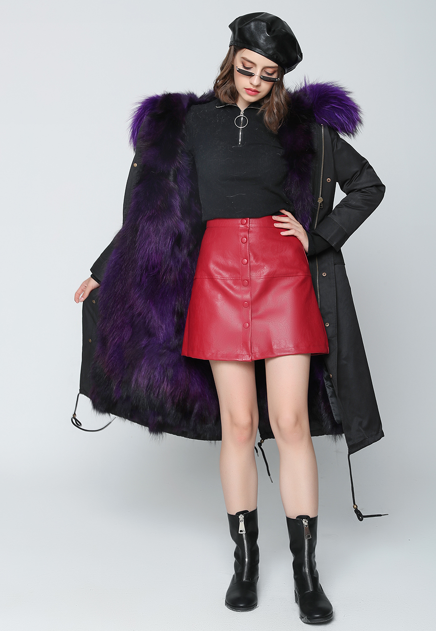 2019 Real Fur Coat Winter Jacket Women Long Parka Waterproof Big Natural Raccoon Fur Collar Hood Thick Warm Real Fox Fur Liner 59