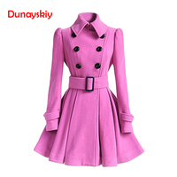 Red Wool Women Coat Winter Overcoat Double Breasted Belt Slim Jacket Female Fashion Black Casual Outerwear Vintage Coat Overcoat