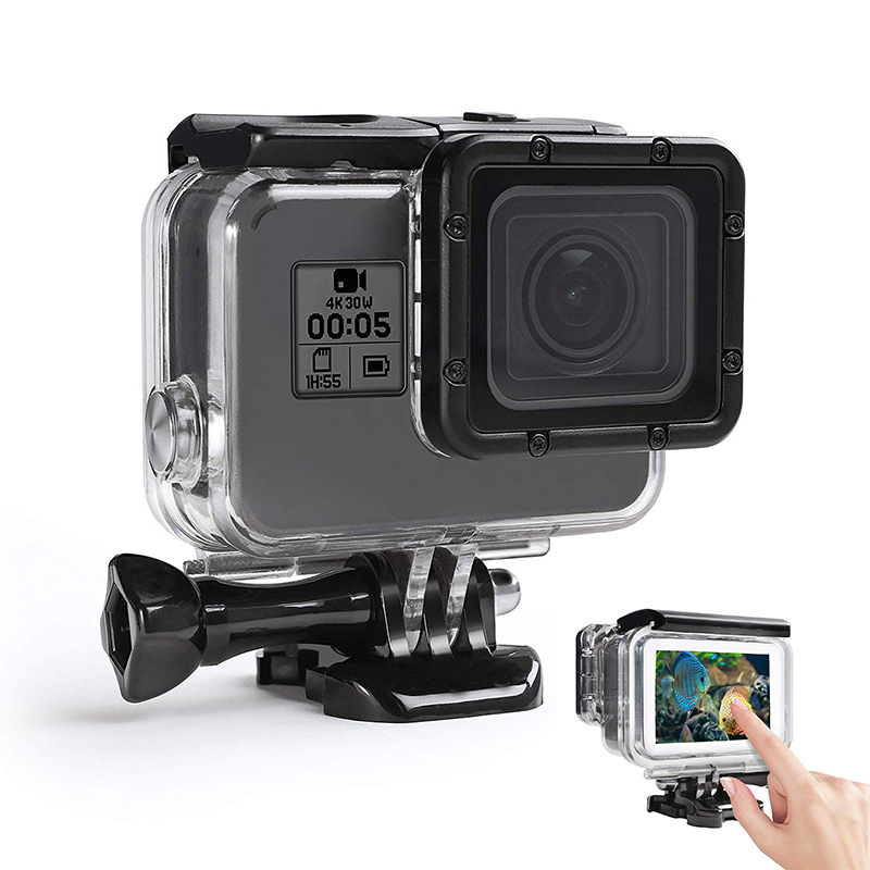 60M/197ft Waterproof Housing Case Touch Screen Back Door For Gopro Hero 7/6/5/(2018) For Go Pro Black Action Camera Accessories