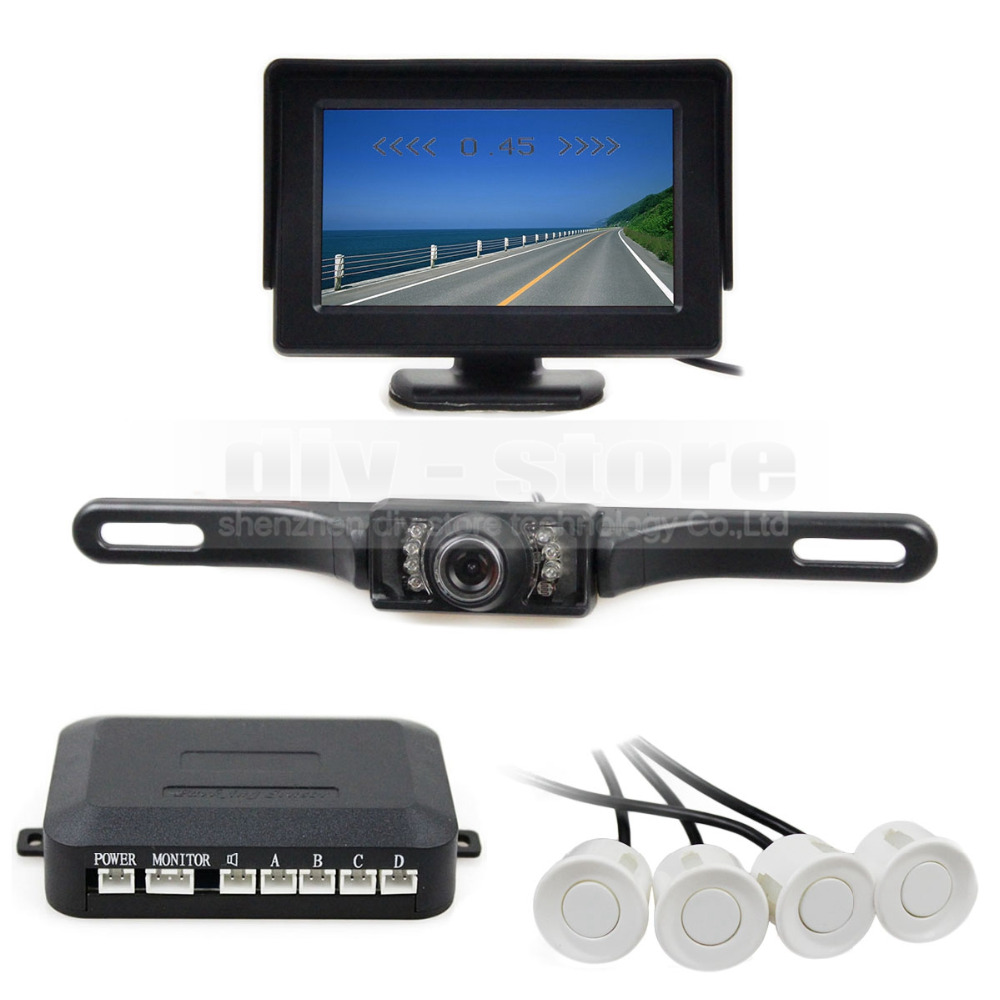 ФОТО DIYKIT Video Parking Sensor 4.3 Inch Rear View Car Monitor Kit + 4 Parking Radar + IR Night Vision Car Camera Parking Assistance