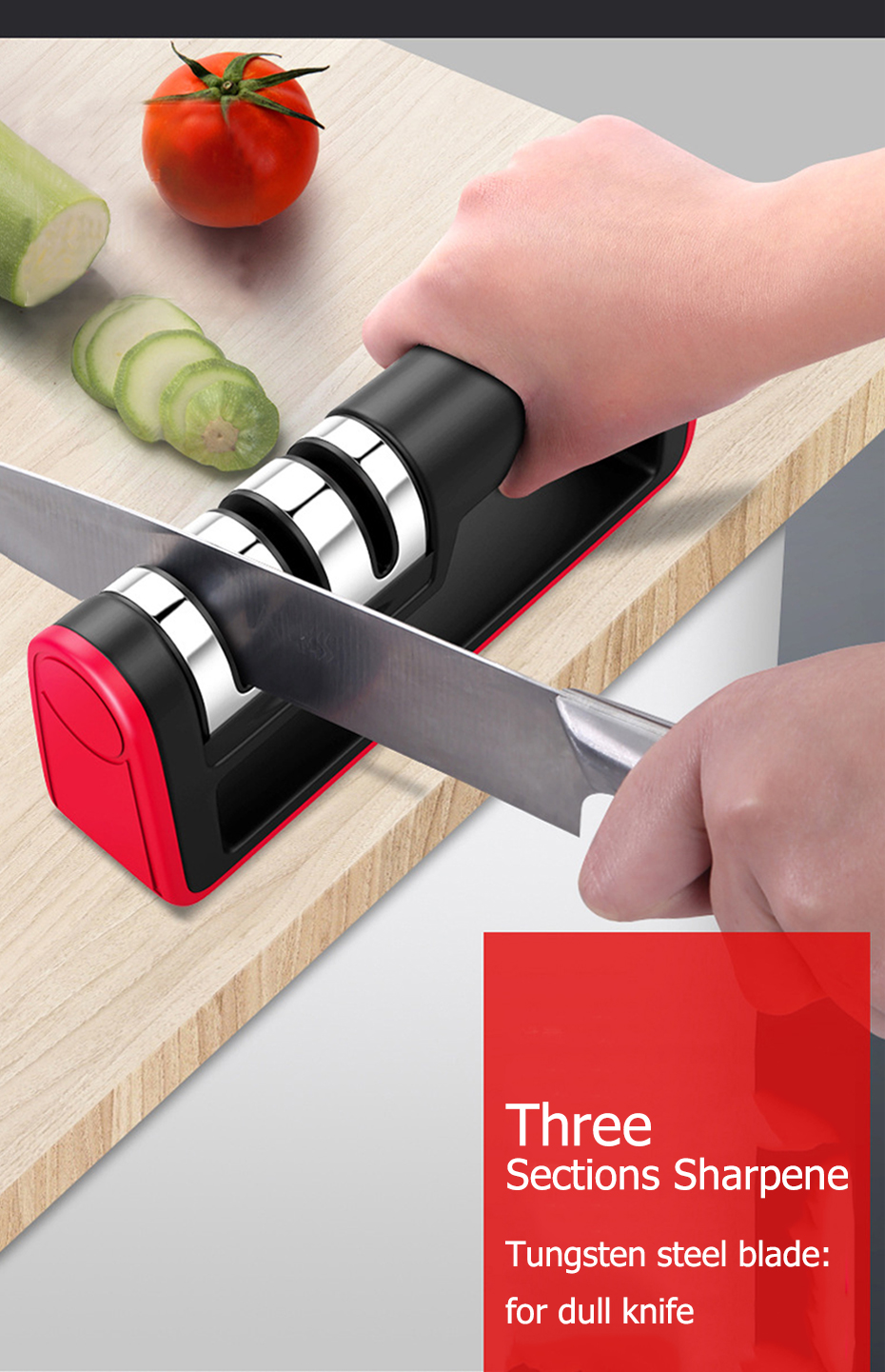 Stainless Steel Professional Knife Sharpener With Diamond Sharpening Stone