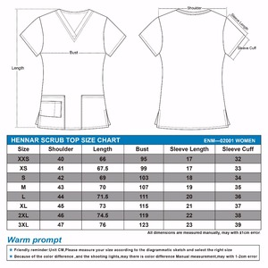 Image 2 - Hennar Lovely Print polyster scrub  Uniforms Women Breathable V Neck TC Nurse Nursing Uniform  Clinical Dental Scrub Top