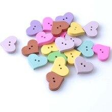 Деревянные декоративные пуговицы в форме сердца, разные цвета, 20x16 мм, скрапбукинг, материалы для рукоделия шитье, 50 шт., MT0299x
