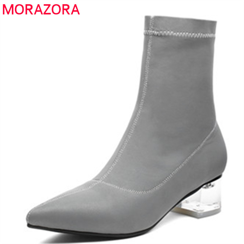 MORAZORA 2019 new arrival Elastic socks boots pointed toe autumn boots solid colors sqaure heels shoes