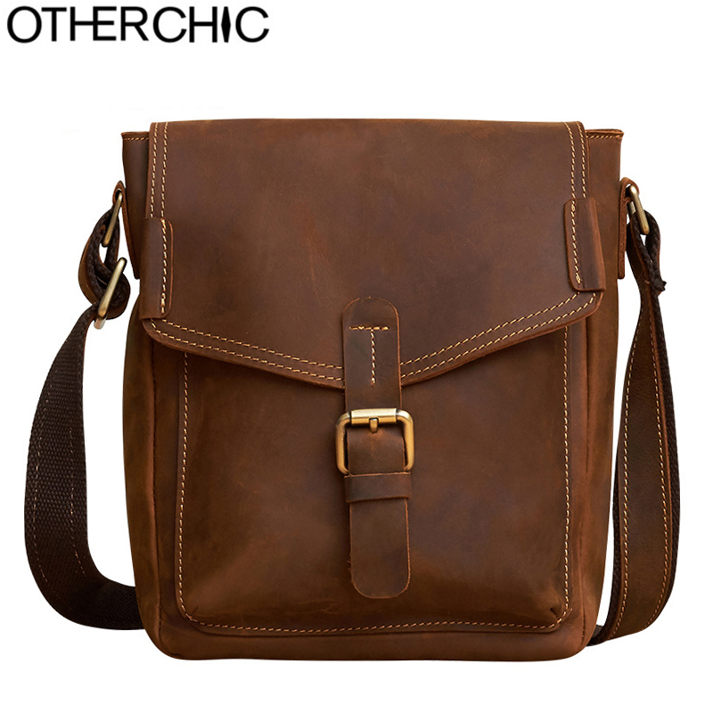 OTHERCHIC 2017 Genuine Leather Men Bag High Quality Messenger Bags Small Travel Brown Crossbody Shoulder Bag For Men L-7N07-37 hot 2017 genuine leather bags men high quality messenger bags small travel black crossbody shoulder bag for men li 1611