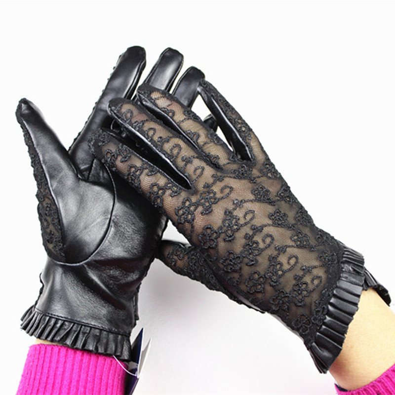 Eldiven Promotion Real Women Gloves 2018 Female Leather Gloves Touch Screen Embroidery Lace Wrinkled Sheepskin Unlined Driving