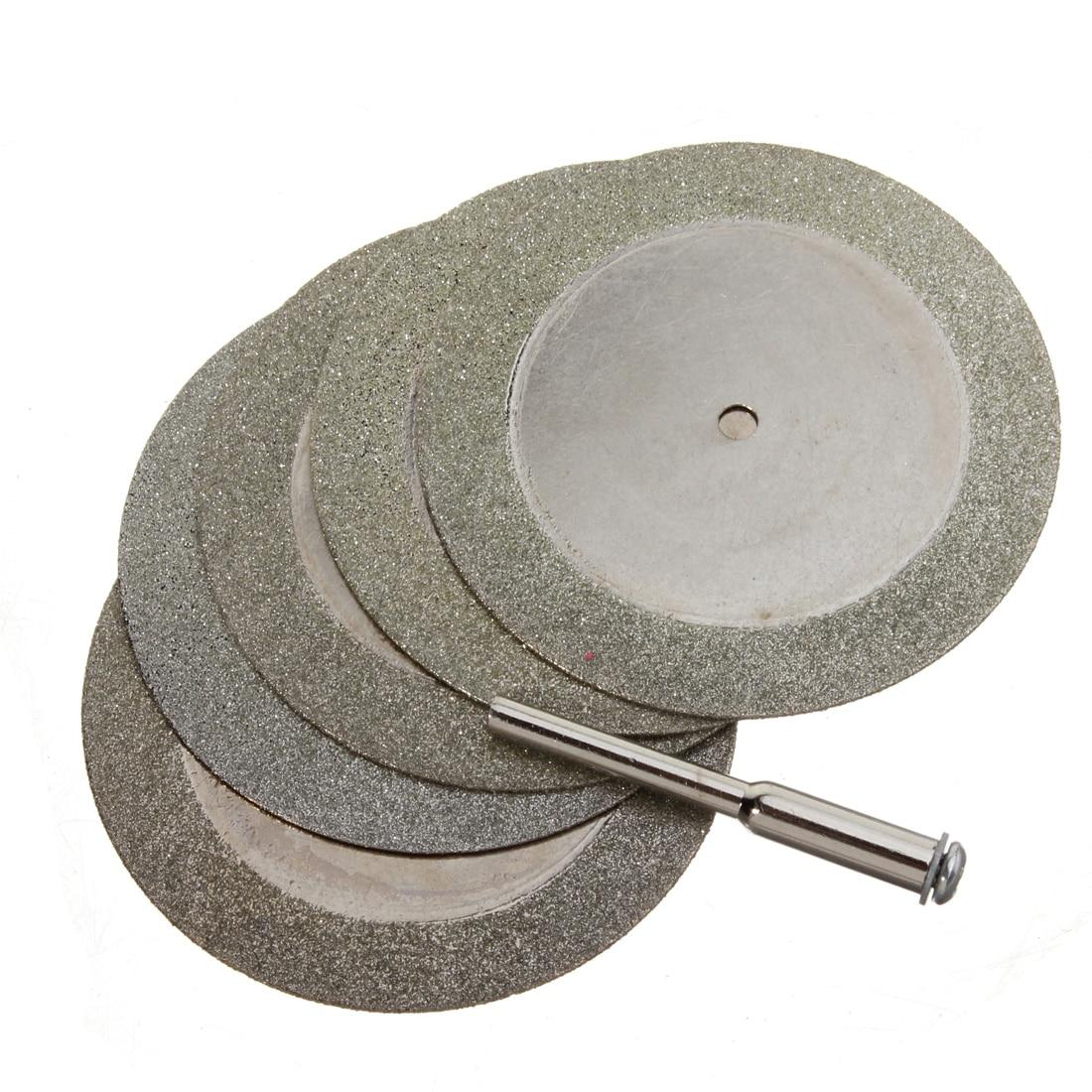 6pcs 50mm Diamond Cutting Discs Wheel & Drill Bit For Rotary Dremel Tool Saw Blade