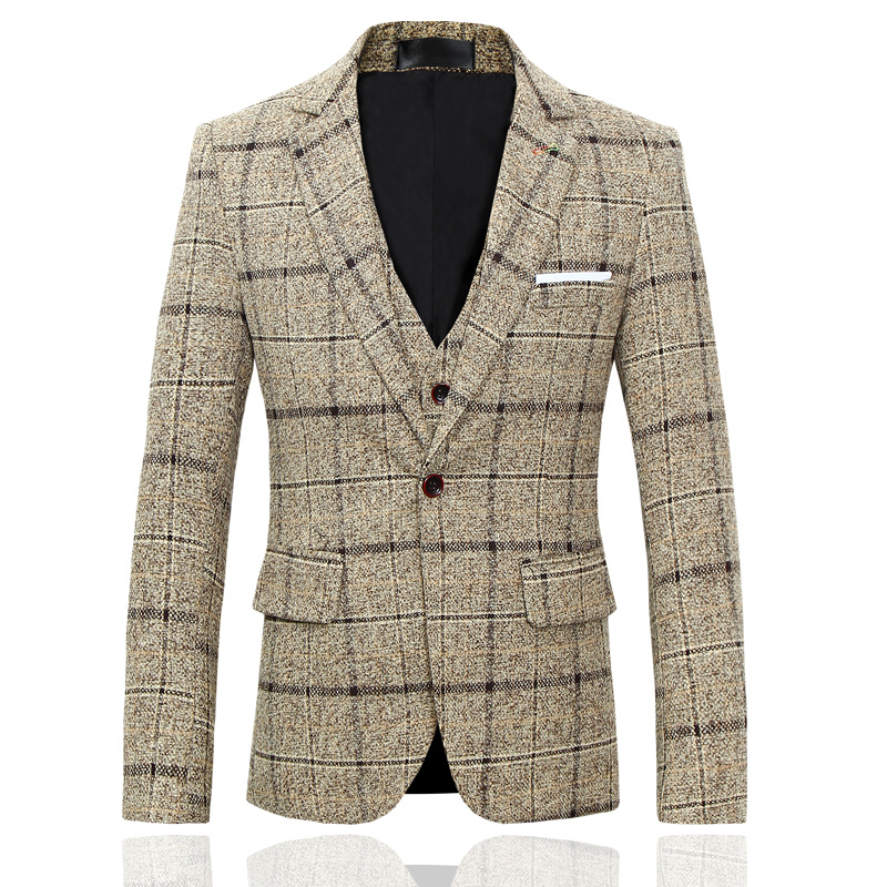 Spring And Autumn Men Plaid Stripe Suit  Asian Size S  M L XL XXL XXXL  4XL 5XL Men Suit Jacket Slim Design Mens Blazer Jackets