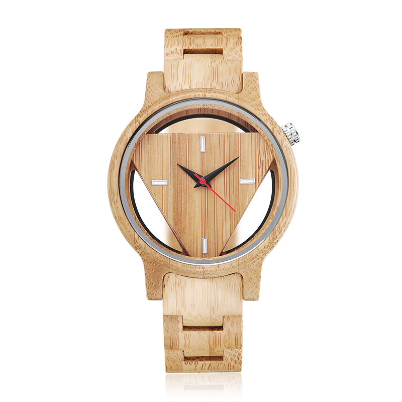 Fashion Creative Luxury Hollow Triangle Dial Wooden Men