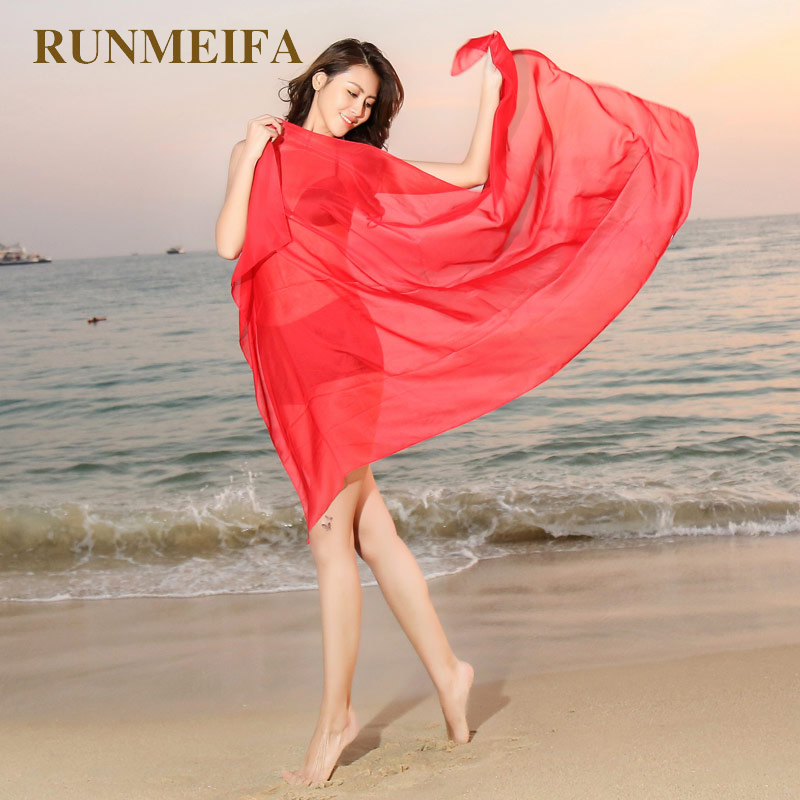 RUNMEI New Women   Scarf   Beach Towel Pareo Summer Solid Color Chiffon   Scarf   Cover Up   Wrap   Sarong Sunscreen Long Cape Suntan Towel