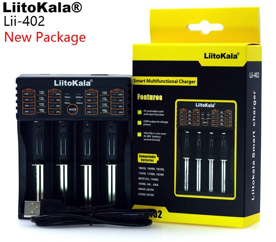 LiitoKala Lii-100 lii-202 Lii-402 1.2 V/3 V/3.7 V/4.25 V 18650/26650/18350/16340/18500/AA/AAA NiMH cargador de batería de litio