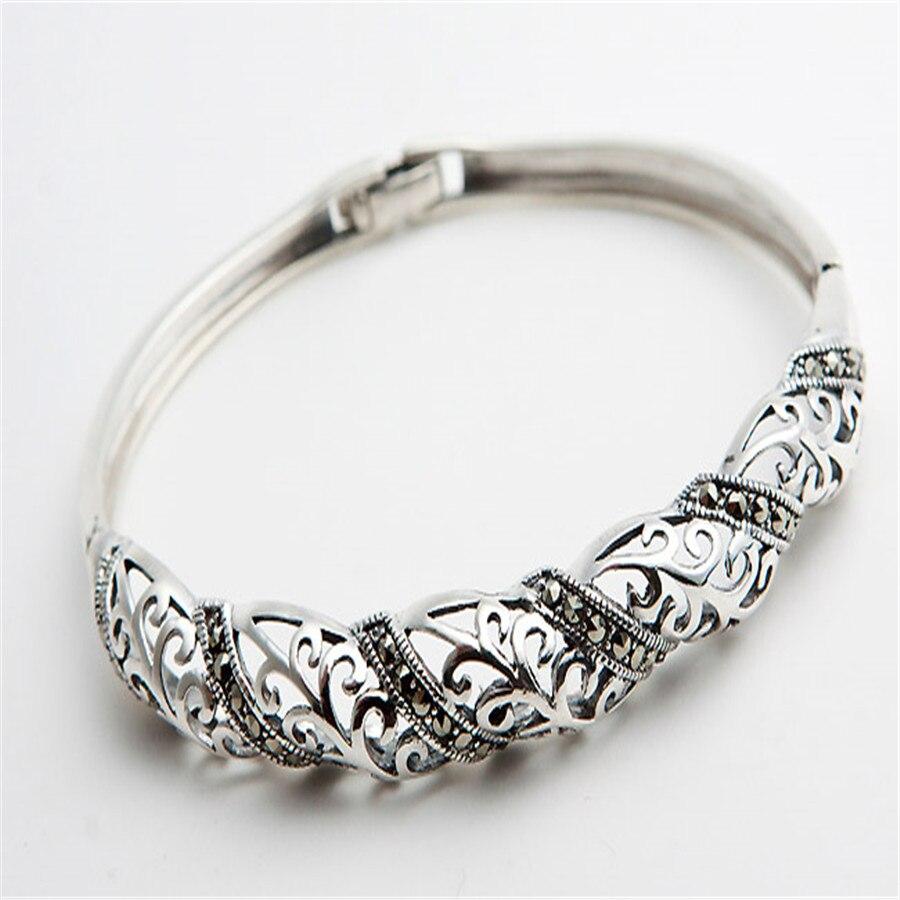 2018 nouvellement naturel 925 Bracelet en argent Sterling livraison directe mode femmes Bracelet en argent Folk personnalisé à la mode seulement un argent