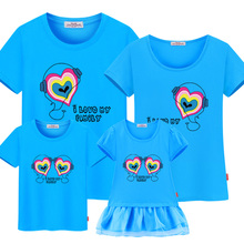 hot deal buy family matching clothes 2017 new short-sleeve mother daughter dress family set summer family matching outfits fashion t-shirts