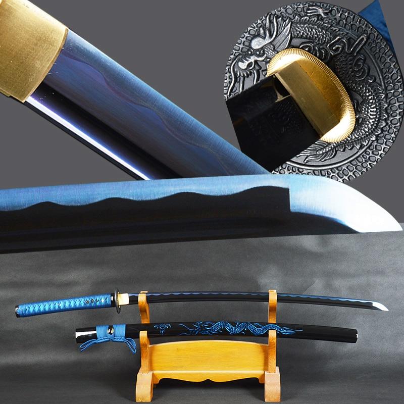 Brandon Espadas Samurai Japonês Katana Espada Aço Carbono Afiada Lâmina Espada Pronta da Batalha Do Dragão Azul Bainha Espadas Faca
