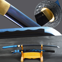 Brandon Swords Japanese Samurai Katana Sword High Carbon Steel Sharp Blue Blade Battle Ready Sword Dragon Sheath Espadas Knife