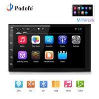 Podofo 2 Дин Радио Android Octa Core стерео дюймов 7 дюймов емкостный сенсорный экран Высокое разрешение gps навигации Bluetooth USB SD