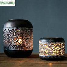 NEW Retro Moroccan glass Hollow Candle Holder Home Decoration Black European Candlestick Lantern Romantic Wedding Bar Cup