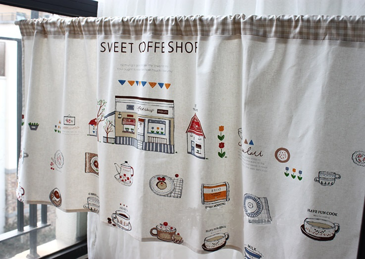 Katun Dan Linen Kopi Tirai Dapur Manis Toko Setengah Cahaya Shading Dekoratif 135 Cm Lebar Tinggi Dapat B Di Dari Rumah Taman