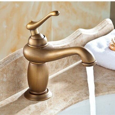 Europese stijl Enkel handvat enkel gat antieke badkamer mengkraan ...