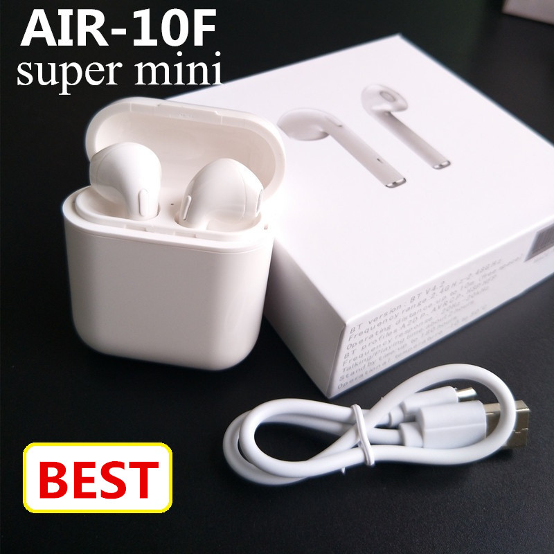 New AIR-F10 mini Bluetooth Headset double ear Wireless Headsets earbuds wireless air  pods earphone for Andorid  Iphone 7/8/8S cinkeypro mini bluetooth headset 4 1 wireless invisible sport earphone car ear earbuds for iphone 7 6 computer universal