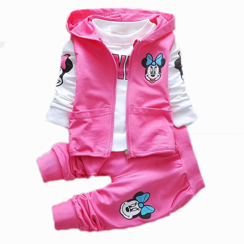 2017 new Minnie mouse arrival Girls Clothing set 3pcs/set baby girls casual cotton suit Long sleeve T-shirt+coat+pant tracksuits