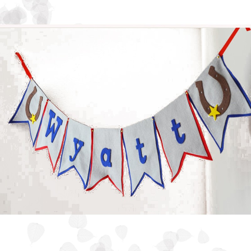 Custom Star Hanging Cowboy Name Bunting 1st Birthday Party Letter