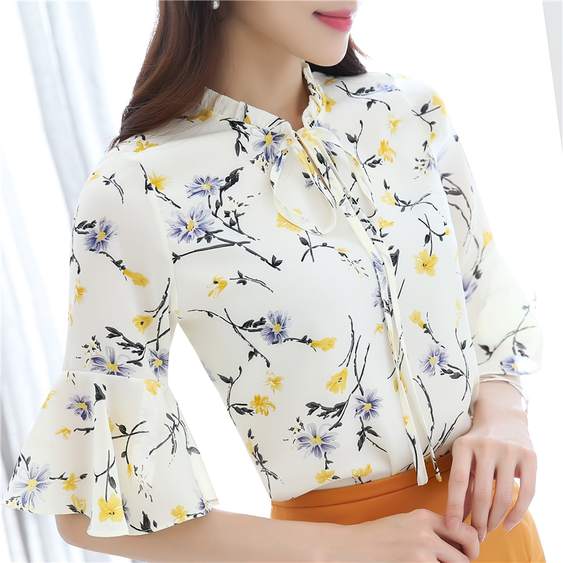 Plus Size S-4XL Wome Print Flower Half Sleeve Chiffon Blouses Tops Girls Fashion Floral Shirts clothing ZY8931