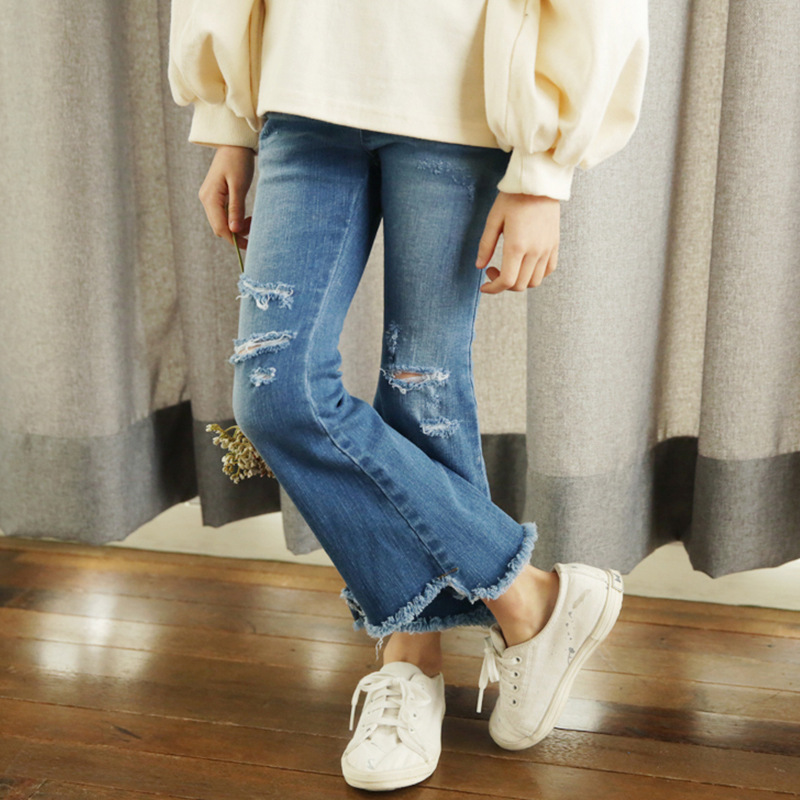 2018 Summer Girls Ripped Jeans Spring Summer Autumn Style Trend Denim Trousers For Kids Children Distrressed Hole Pants Cool summer fashion womens denim pants ripped hole jeans stretch knee length jeans sexy torn femme skinny body jeans