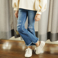 2018 Summer Girls Ripped Jeans Spring Summer Autumn Style Trend Denim Trousers For Kids Children Distrressed Hole Pants Cool