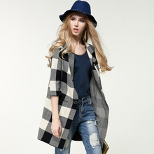 Ladies winter cardigan knit coat sweater knitted coat female college Plaid thick wool knit jacket