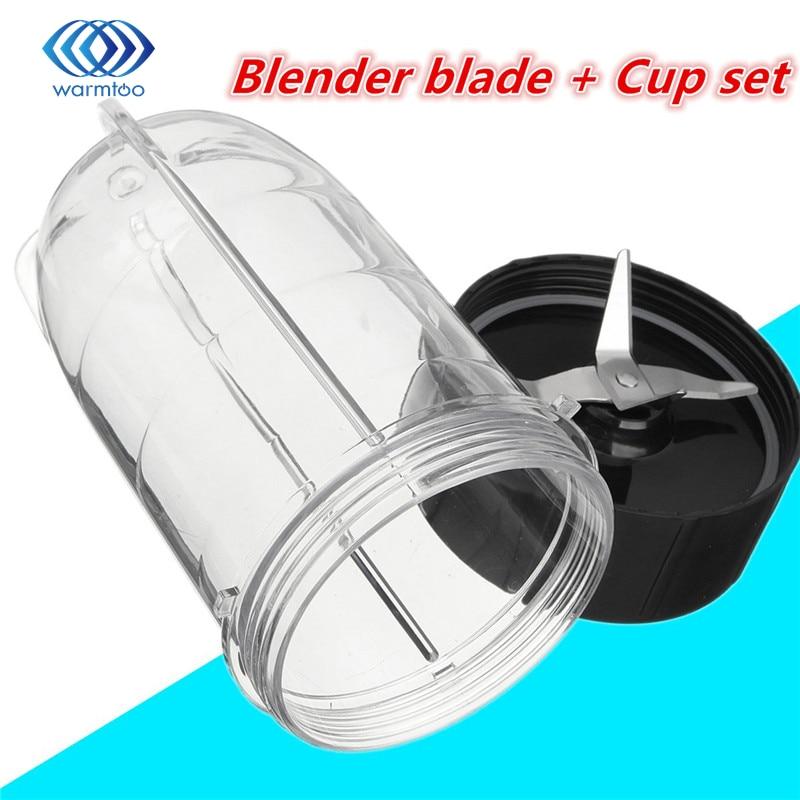 Aço Inox Liquidificador Lâmina De prata Transparente preto + Copo de plástico Conjunto Liquidificador Parte Substituição Para Bala Mágica