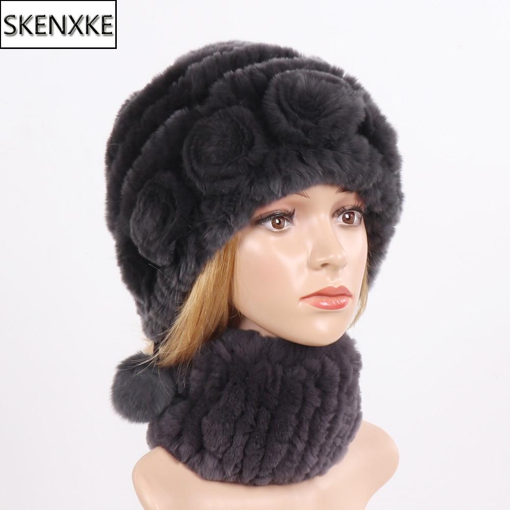 Hot Sale Lady Real Rex Rabbit Fur Hats Scarves Sets Winter Women Knitted Real Fur Hat Scarf Good Elastic Natural Fur Muffler Hat