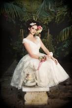 Vintage 2015 Free Shipping vestido de noiva Romantic Mid Calf White Ivory Lace Wedding Dress Bridal Gown Custom Made Size