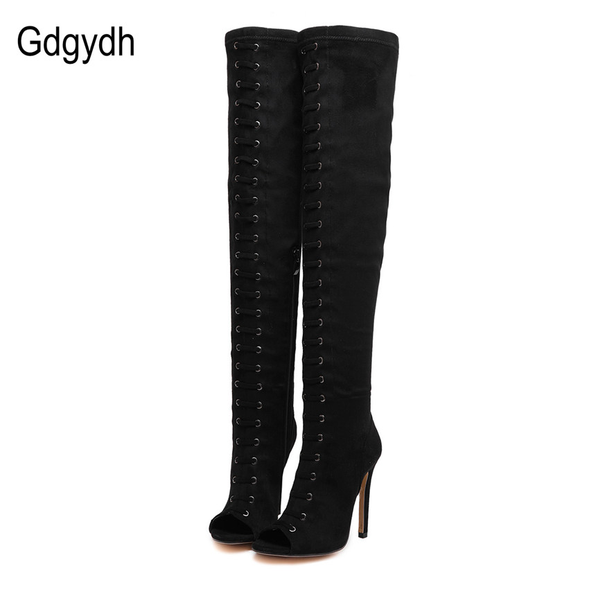 ФОТО Gdgydh 2017 Spring Autumn Peep Toe Women Boots Black Fashion Thin Heels Over-the-knee Boots High Knee Shoes Female Plus Size 40