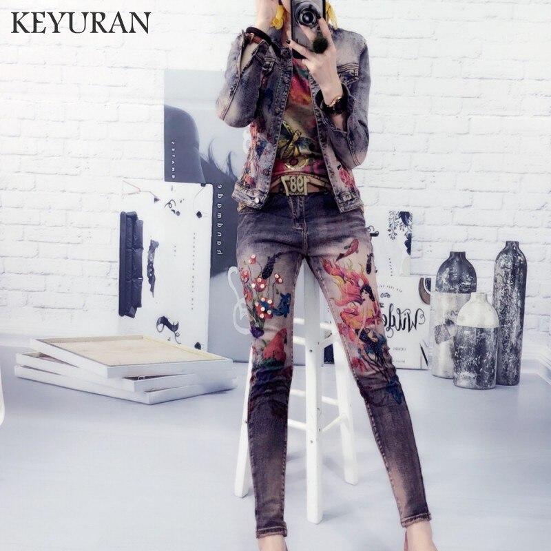 Yeni Pullu çiçek Baskı Kot Ceket Pantolon Takım Elbise Lady Iki Adet