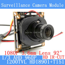 1.3MP 1280*960 1200TVL AHD 960P mini night vision 1/3 HDI8901+T151 Camera Module 2MP 3.6mm Surveillance Camera ODS / BNC cable