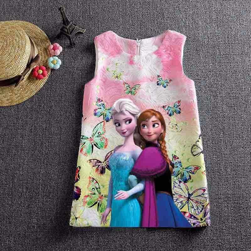Платье Анны и Эльзы для девочек; платье принцессы; вечерние летние платья с принтом Анны и бабочки для девочек; одежда для маленьких девочек-подростков; Vestidos