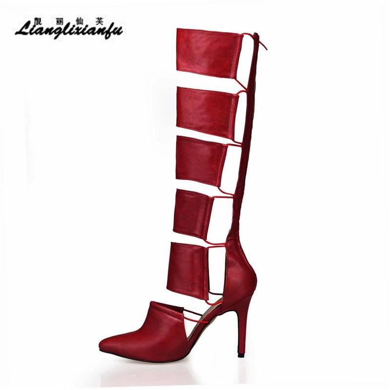 LLXF été genou-haute moto Cool bottes 10 cm chaussures à talons fins femme botas mujer évider à lacets pompes rouges Plus: 35-42 43