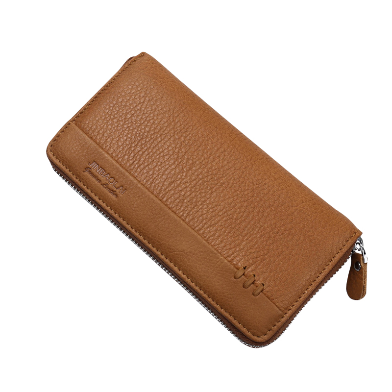 Genuine Leather Vintage Mens Wallets Long Clutches Money Bag Zipper Cowhide Leather Card Holders Male Walets Carteira Masculina
