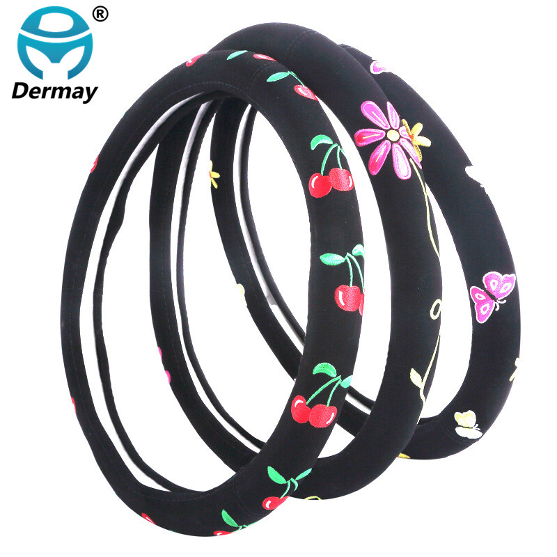 Cartoon Steering Wheel Cover Flower Embroidery Car Steering-Wheel-Covers Auto Interior Steering Hub Accessories For Women vintage leather steering wheel cover flower printing women s car steering wheel covers for girls car steering accessories