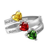 b4300d44a151 Personalized 925 Silver Ring For Women Custom Three Names With Birthstones  Ring For Couple Ring Jewelry