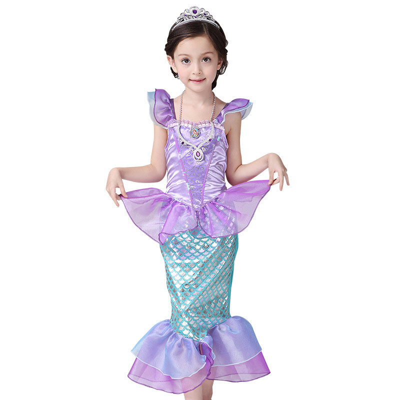 Children Costume Little Mermaid Princess Ariel Mermaid Tail Cosplay Halloween Costume Kids 2018 Summer Dress Party Dress