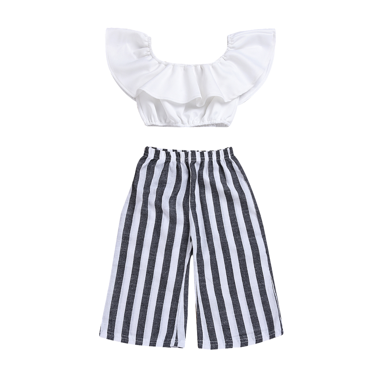 Pudcoco Toddler Girls Summer Clothing Set Off Shoulder Tops Ruffle Blouse+Striped Long Pants 2PCS Boutique Kids Toddler Clothes chic off the shoulder asymmetrical women s blouse