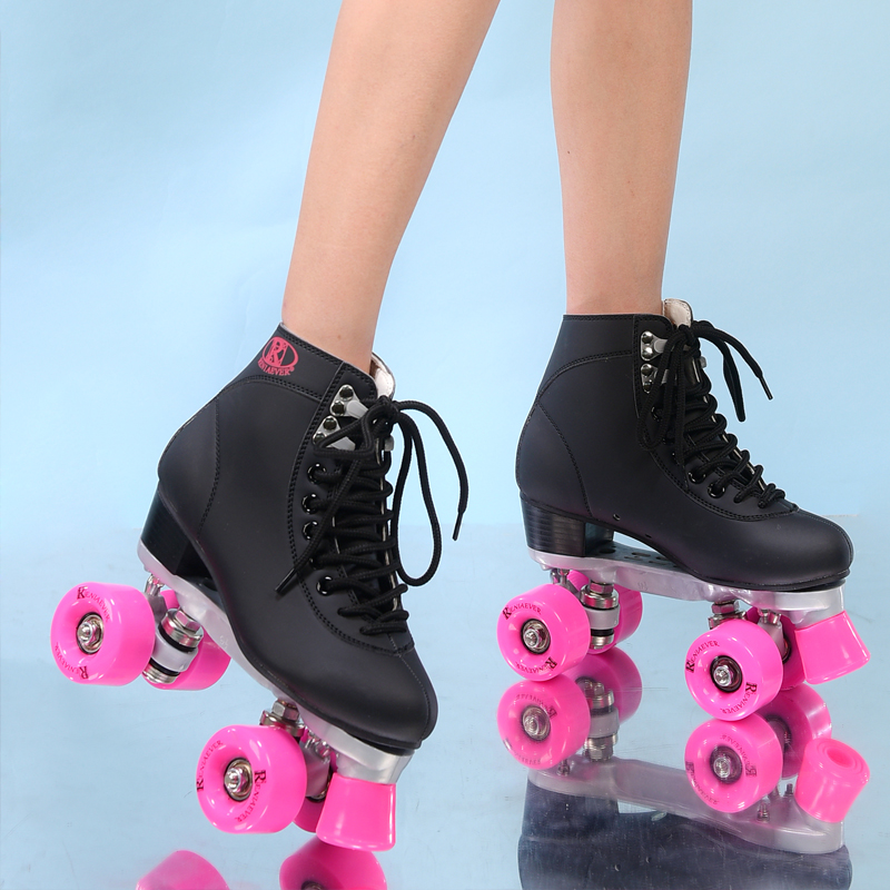 RENIAEVER double roller skates, 4 skating shoe, pink wheels, black shoes ,free shipping reniaever double roller skates skating shoe gift girls black wheels roller shoe figure skates white free shipping