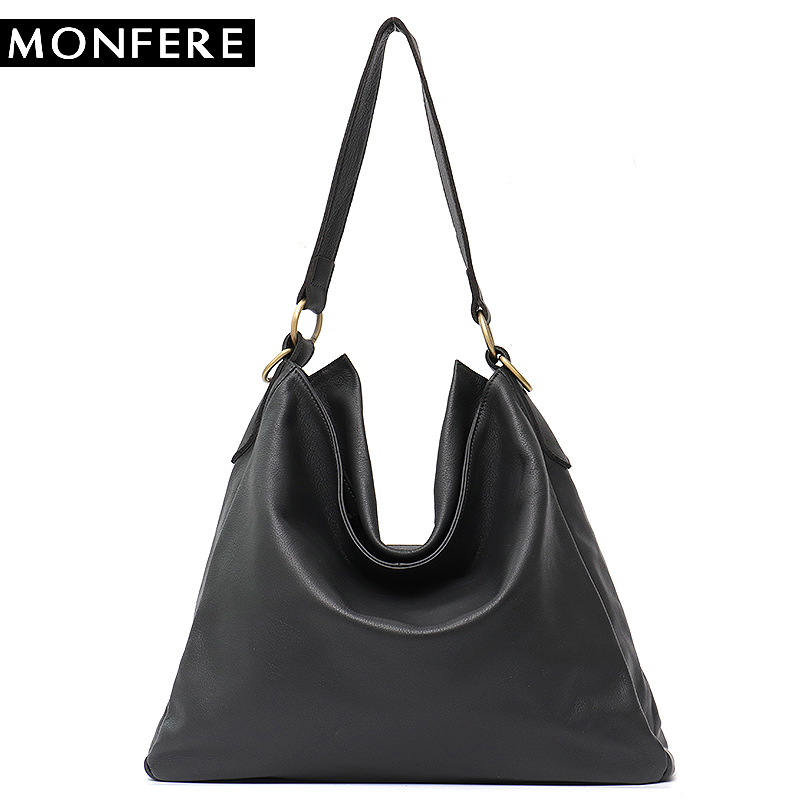MONFERE 2018 New Fashion Soft Real Genuine Leather Women Daily Handbag Elegant Ladies Hobo Shoulder Bag Messenger Purse Satchel f 7382 new women satchel bag fashion tote messenger leather purse shoulder handbag hobo