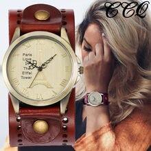 8eb01a9cd105 CCQ Vintage cuero de vaca reloj Torre Eiffel casuales de los hombres de las  mujeres de