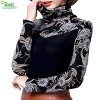 Plus Cashmere Thickened Net Yarn T shirt Women's Long Sleeved 2017 Winter New Large Size Slim High Collar Women Top Tee ER39