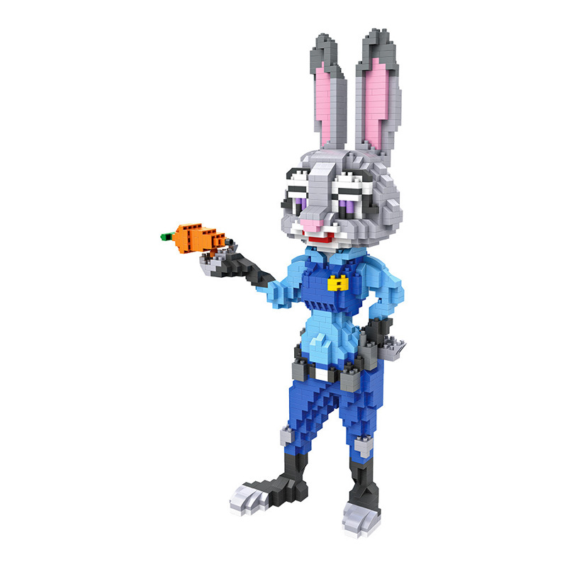 Cartoon movie Zootopia LOZ mini diamond building block Judy Hopps Rabbit figures police nanoblock model brick educational toys mini qute full set 2 pcs lot hc zootopia huge nick wilde judy hopps plastic building block cartoon model educational toy no 9011